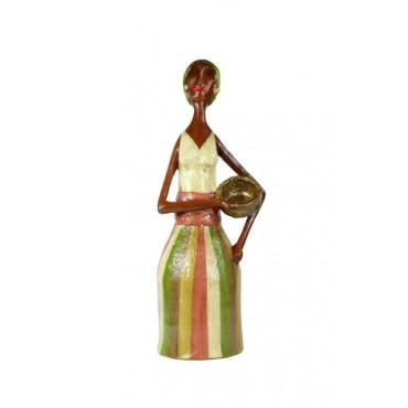 Escultura Baiana I em Papel Machê by Cláudia Pontual - 35cm