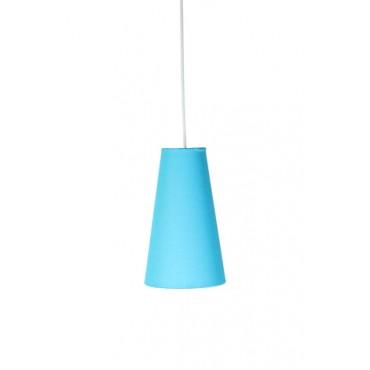 Pendente com Cúpula Cônica em Tecido Azul P Linha Essential by Studio Mirabile