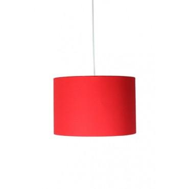 Pendente com Cúpula Redonda em Tecido Vermelho Linha Essential by Studio Mirabile