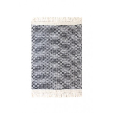 Tapete em Tear Manual Geométrico Azul Marinho 47cm x 70cm by Mirabile Essential