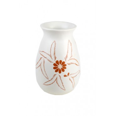 Vaso Branco Floral by Coqueiro Campo (30 cm x 20cm)