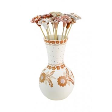 Vaso em Cerâmica com flores by Coqueiro Campo (35cm x 15cm)