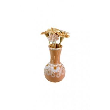 Vaso com Flores Marrom Claro by Coqueiro Campo (22 cm x 10cm)