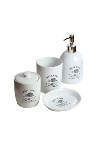 Kit Para Banheiro Em Porcelana Branca 4 Peças Coleção