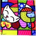 """Poster """"Happy Cat"""" by Romero Britto - 34 x 34 cm"""