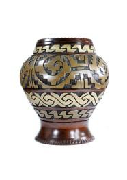 Vaso de Cerâmica Marajoara Marrom Escuro e Ocre