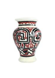 Vaso Decorativo de Cerâmica Marajoara Branco e Vermelho