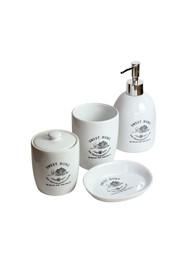 Kit para Banheiro em Porcelana Branca (4 peças) - Coleção Mirabile Essential
