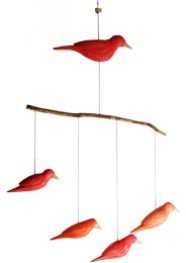 Mobile Cinco Pássaros by Criqué Caiçara  (70 cm x 50 cm)
