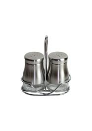 Porta Condimentos (Saleiro e Pimenteiro) em Vidro e Alumínio Polido - 3 Peças