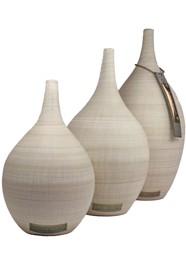 Jogo de Vasos em Cerâmica Pintada Coleção Retrô Bege by Carolina Haveroth