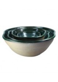 Bowl em Cerâmica Esmaltada Bege e Verde Escuro by Paula Almeida