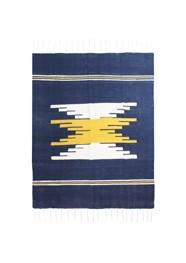 Tapete em Tear Manual Azul Marinho Amarelo e Branco Linha Mirabile Essential
