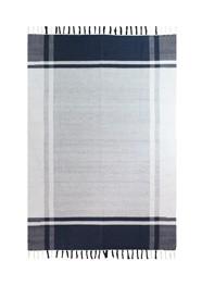 Tapete em Tear Manual Cinza e Azul Marinho Linha Mirabile Essential