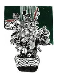 Xilogravura Vaso com Flores Faixa Verde by Rafael Cão (66 cm x 50 cm)