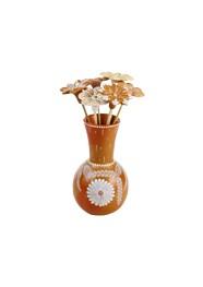 Vaso com Flores Marrom Escuro by Coqueiro Campo (22 cm x 10cm)