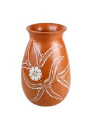 Vaso Marrom Floral by Coqueiro Campo (30 cm x 20cm)