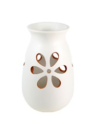 Vaso em Cerâmica Vazado Branco by Coqueiro Campo (30 cm x 18cm)