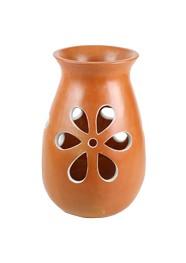 Vaso em Cerâmica Vazado Marrom by Coqueiro Campo (30cm x 18cm)