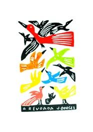 Xilogravura A Revoada Colorida  by J.Borges (24 cm x 33 cm)