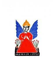 Xilogravura Anjo da Guia Colorido by J.Borges (33 cm x 24 cm)