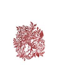 Xilogravura Coração com Rosas Vermelho by Mangarataia (26 cm x 22 cm)