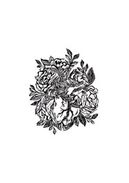 Xilogravura Coração com Rosas Preto by Mangarataia (26 cm x 22 cm)