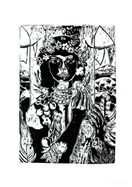 Xilogravura Ref. Di Cavalcante 2 by Rafael Cão (39,5 cm x 56 cm)