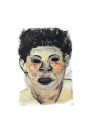 Xilogravura Face Amarela e Cinza by Rafael Cão (25 cm x 19 cm)