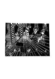 Xilogravura Família na Sala das Rosas by Nei Vital e Cordel Urbano (39 cm x 50 cm)