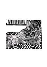 Xilogravura Morena Modigliani  by Nei Vital e Cordel Urbano (39 cm x 50 cm)