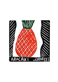 Xilogravura by J. Borges - Abacaxi (Tamanho 33 x 24 cm)