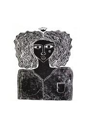 Xilogravura Rainha by Mangarataia (35 cm x 31 cm)