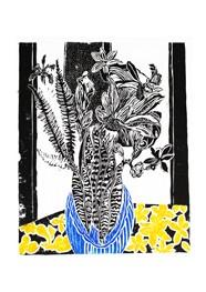 Xilogravura Vaso Azul com Flores by Rafael Cão (66 cm x 50 cm)
