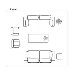 Exemplo de Disposição de Tapete para Sala Grande