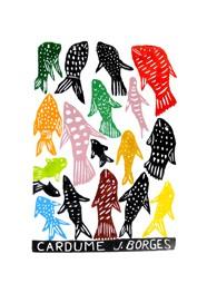 Xilogravura Cardume by J. Borges