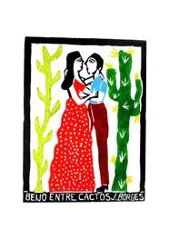 Xilogravura Beijo Entre Cactus by J. Borges