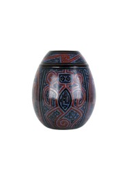 Vaso Azul Oval Marajoara by Polo Ceramista de Icoaraci (30 cm x 20 cm)