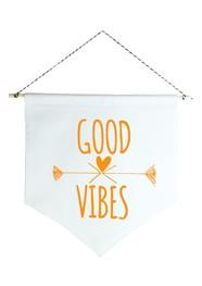 Wall Flag (estandarte) Laranja Good Vibes by Studio Mirabile