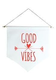 Wall Flag (estandarte) Vermelha Good Vibes by Studio Mirabile