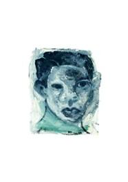 Xilogravura Face Azul em Aquarela by Cão (23 cm x 20 cm)
