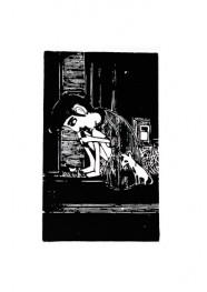 Xilogravura Garoto de São Paulo com Cachorro by Nei Vital e Cordel Urbano (39 cm x 50 cm)