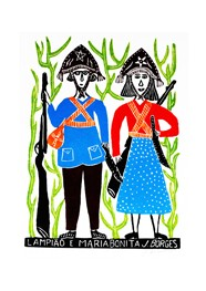 Xilogravura Lampião e Maria Bonita by J.Borges (66 cm x 48 cm)