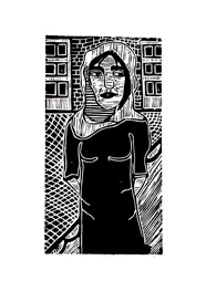Xilogravura Menina do Iêmen by Nei Vital e Cordel Urbano (39 cm x 50 cm)