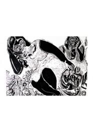 Xilogravura Mulheres com Cesto de Frutas by Cão (55.5 cm x 65 cm)