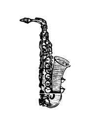Xilogravura - Saxofone - by Nei Vital e o Cordel Urbano (40 x 50cm)