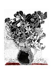 Xilogravura Vaso com Flores Faixa Vermelha by Rafael Cão (66 cm x 50 cm)