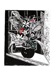 Xilogravura Vaso com Flores na Janela by Rafael Cão (66 cm x 50 cm)