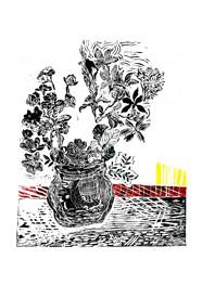Xilogravura Vaso com Flores Vermelho e Amarelo by Rafael Cão (66 cm x 50 cm)