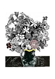Xilogravura Vaso Verde com Flores by Rafael Cão (66 cm x 50 cm)